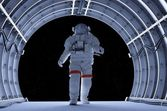 Astronaut in the tunnels — Stock Photo