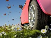 Car and butterflies — Stock Photo