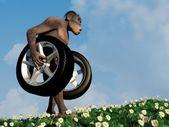 Primitive man with wheels. — Stock Photo
