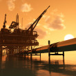 Oil production and the pipe — Stock Photo