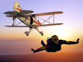 Parashutist and Plane — Stock Photo