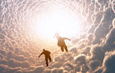 People in the clouds. — ストック写真