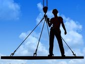 Silhouette of a worker — Stock Photo