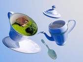 Dishes in nature. — Stock Photo