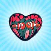 Two Cute Clown Fish on a Background of Heart — Stock Vector