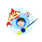 Fisherman on winter fishing — Stock Vector