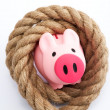 Piggy bank tied by rope - Stock Photo