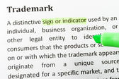 Highlighter and trademark concept words on paper — Stock Photo