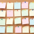 Thumbtack and note paper group — Stock Photo