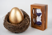 Golden egg and hourglass — Stock Photo