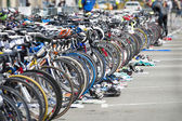 Bicycle waiting at triathlon — Stock Photo