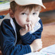 Little boy draws — Stock Photo