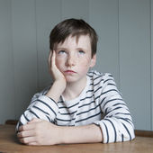 Little boy in striped shirt — Stock Photo