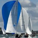 Skipper on yacht at regatta — Stock Photo