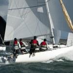 Team skipper on yacht at regatta — Stock Photo