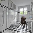 Modern bathroom in black and white — Stock Photo