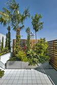 Moderna terraza con piso de madera — Foto de Stock