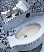 Blue washbasin — Stock Photo