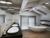 Modern bathroom on garret — Stock Photo