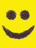 Smile made of coffee beans — Stock Photo