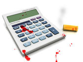 Suicide in crisis - calculator and empty bullets - blood scene. — Stock Photo