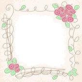 Vector floral doodle frame — Stockvektor