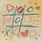 Vector Tic Tac Toe Hearts, Valentine background. The valentine's day. Love heart. Hand-drawn icons symbols. — Stockvektor