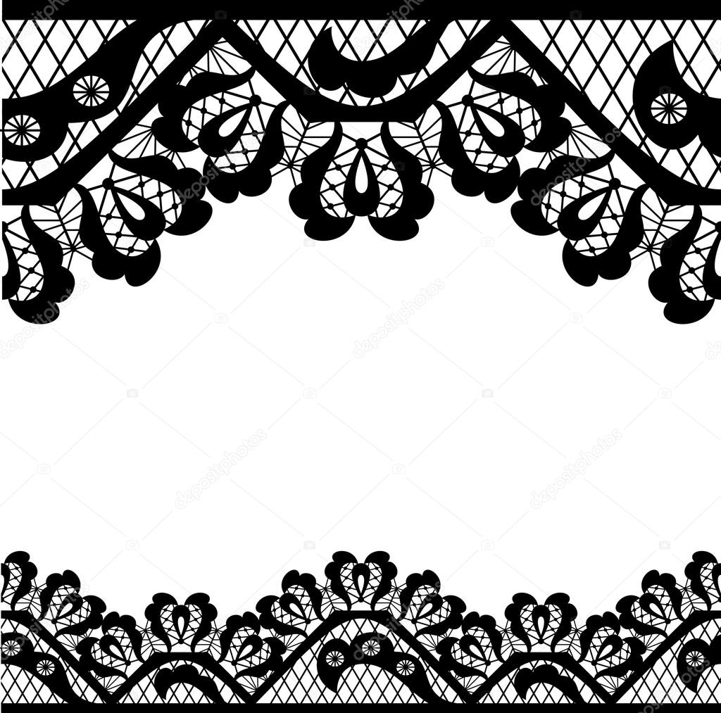 Black lace on white background and place for your text ...