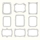 Satz von doodle-frames und verschiedene elemente — Stockvektor