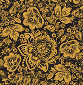 Seamless floral pattern. Beige flowers on a gold background. — Stock Vector