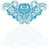 Ornate elegant vector floral frame in Gzhel style — Stockvector