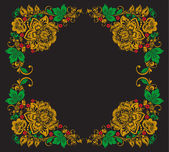 Vector background of floral pattern with traditional russian flower ornament.Khokhloma. — Stok Vektör