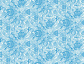 Blue floral textile vector seamless pattern in gzhel style — Stock Vector