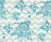 Vector Seamless chevron floral Background — Stock Vector