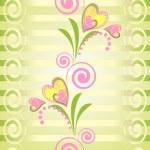 Flower heart stripe seamless pattern — Stock Vector #6050369