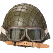 Army with goggles helmet isolated on white — Stock Photo