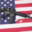 Stock Photo: M4A1 carbine with blank dog tags on us flag