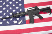 Us army carbine with blank dog tags on us flag — Stock Photo
