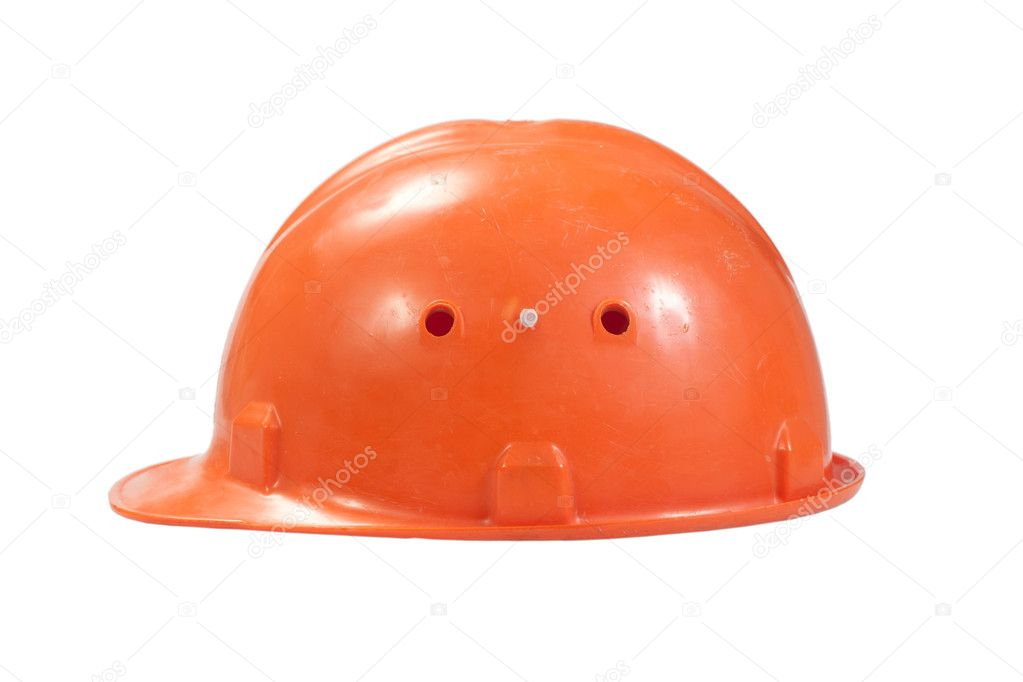 Orange helmet for builder worker isolated on white — Stock Photo #12620853