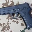Sig sauer hand gun on desert camouflaged background — Stock Photo
