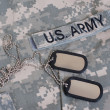 Stock Photo: Army uniform with blank dog tags