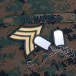 US  Marines concept with service tapes, dog tags and camouflaged uniform — Stock Photo