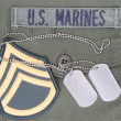 Us marines concept - uniform, dog tags and sergeant rank patch - Stock Photo
