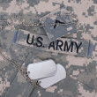 Us army camouflaged uniform with blank dog tags — Stock Photo