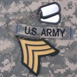 Us army uniform period with blank dog tags and sergeant rank patch — Stock Photo #25648147
