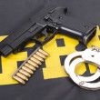 Fbi concept with gun ammo and handcuffs — Stock Photo