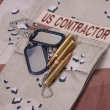 Us contractor uniform with dog tags and cartridges - Stock Photo