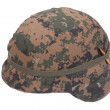 Stock Photo: Us marines kevlar helmet with camouflage cover with ammo amulet