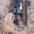 Stock Photo: US Marines concept with firearms, boots and camouflaged uniform