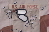 Us air force uniform with dog tags — Stock Photo